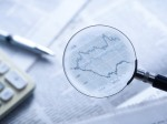 Financial Analysis,shot with very shallow depth of field.blue tone